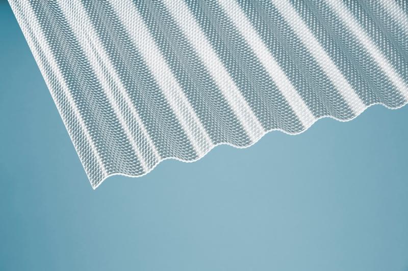 Profilplatte Wabe 76/18 Sinus klar Acryl 1045x2500 mm