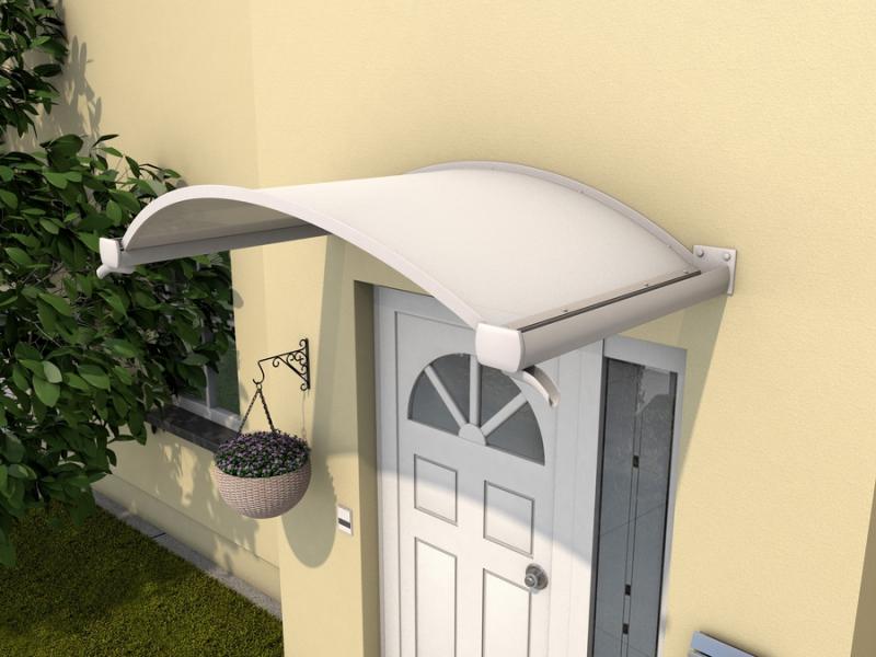Ovalbogenvordach 160x90x30 cm Weiß