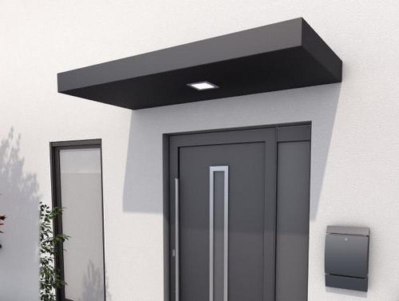 Rechteckvordach mit LED 200x90x14,5 cm anthrazit matt