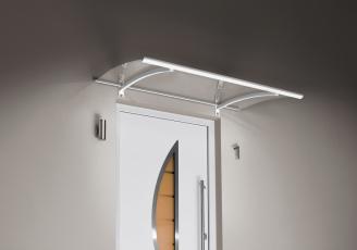 Pultvordach mit LED´s 150x90x22 cm Weiß