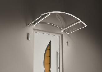 Bogenvordach mit LED´s 150x90x25 cm weiß
