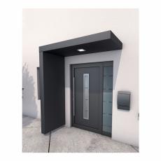 Rechteckvordach mit Seitenteil und LED 160x90x14,5 cm + 220x90x14,5 cm anthrazit matt